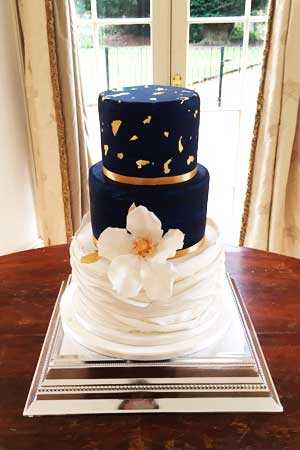 Wedding Cakes - Navy Blue and Gold Ruffle