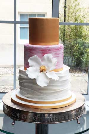 Wedding Cakes - Blush Pink Gold Ruffles