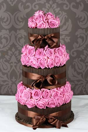 Wedding Cakes - Dark Cigarello with Aqua Rose