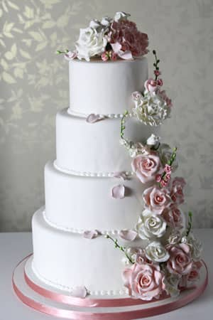Wedding Cakes - Pink Flower Cascade