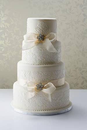 Wedding Cakes - White Damask Wedding Cake