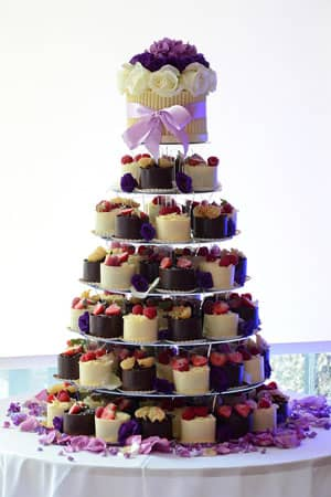 Wedding Cakes - White and Dark Chocolate Wrapped Gateaux Tower