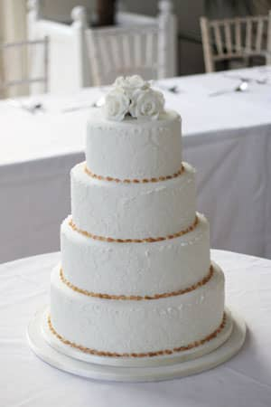 Wedding Cakes - White Damask with Gold Beading