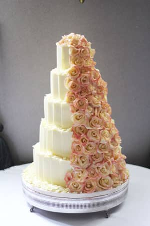 Wedding Cakes - Whit Chocolate Pink Rose Cascade