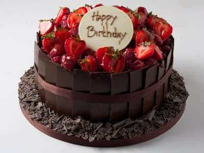 Celebration Cakes - Dark Chocolate Plaque Birthday Cake
