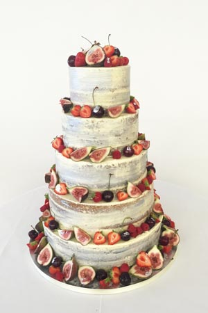 Wedding Cakes - Silver Skimmed Naked Cake