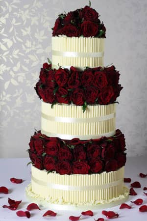 Wedding Cakes - Red Rose Cigarello Wedding Cake