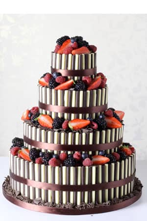 Wedding Cakes - White and Dark Chocolate Cigarello Fountain