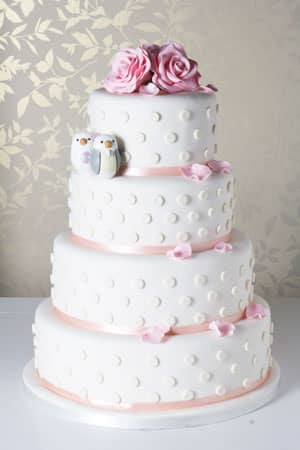 Wedding Cakes - Polka Dots and Birds Wedding Cake