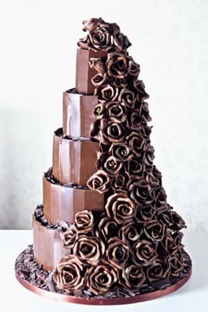 Wedding Cakes - Dark Chocolate Rose Cascade