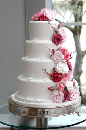 Wedding Cakes - Fuschia Flower Cascade