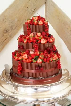 Wedding Cakes - Chocolate Cigarello and Berry Wedding Cake