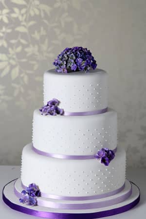 Wedding Cakes - Purple Hydrangea and Dots Wedding Cake