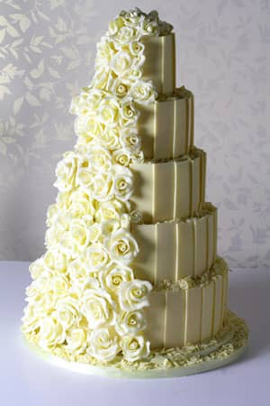 Wedding Cakes -  White Chocolate Rose Cascade