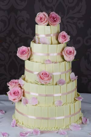 Wedding Cakes - White Chocolate Plaque and Pink Rose