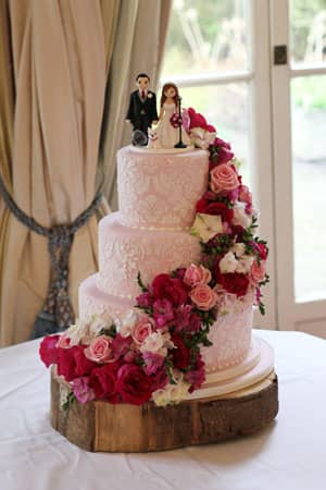 Wedding Cakes - Floral Pink Damask Cake