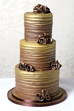 Wedding Cakes - Chocolate Gold Butter Cream Cake
