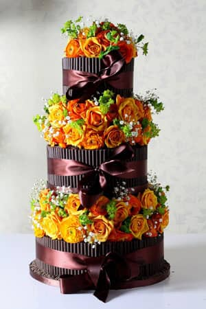 Wedding Cakes - Dark Cigarello and Orange Cala Lilly