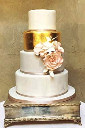 Wedding Cakes - Gold Blush Rose
