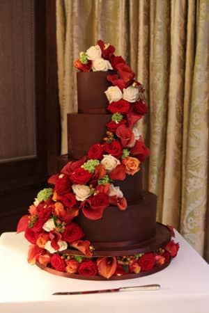 Wedding Cakes - Smooth Ganache Flower Cascade