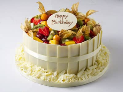 Celebration Cakes - White Chocolate and Tropical Fruit Cream Gateaux