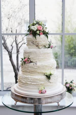 Wedding Cakes - White Ruffle Wedding Cake